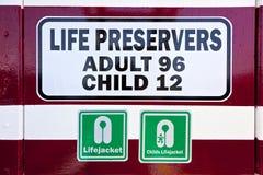 Signe pour des conservateurs de vie sur un ferry Image stock