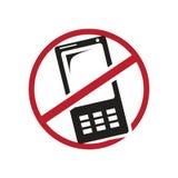 Signe pour interdit utilisant le mobile Images stock