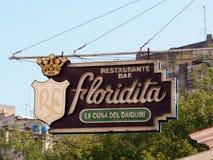 Signe pour la barre de Floridita à vieille La Havane Images libres de droits