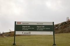 Signe pour la colline de signal, St John, Terre-Neuve, Canada Photographie stock libre de droits