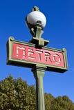 Signe pour la métro de Paris Photo libre de droits