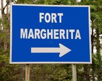 Signe pour le fort Margherita au Bornéo photo libre de droits