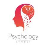 Signe principal moderne de la psychologie Humain de profil Lettre livre par pouce carré Type créateur Symbole dans le vecteur Con illustration stock
