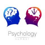 Signe principal moderne de logo de la psychologie Humain de profil Lettre livre par pouce carré Type créateur illustration libre de droits