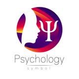 Signe principal moderne de logo de la psychologie Humain de profil Lettre livre par pouce carré Type créateur illustration de vecteur