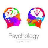 Signe principal moderne de logo de la psychologie Humain de profil Lettre livre par pouce carré Type créateur Symbole dans le vec illustration libre de droits