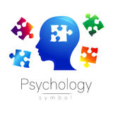 Signe principal moderne de logo de la psychologie Puzzle Humain de profil Type créateur Symbole dans le vecteur Concept de constr illustration stock
