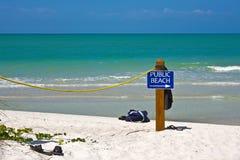 Signe public de plage Photos libres de droits