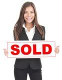 Signe réel d'agent immobilier photos libres de droits