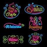 Signe réglé de néon pour des cafés, barre, bowling, hôtel Image stock