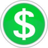 Signe rond avec une photo du dollar. Photo stock