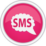 Signe rond qui a lu SMS Photo stock