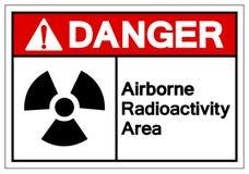Signe a?roport? de symbole de r?gion de radioactivit? de danger, illustration de vecteur, isolat sur le label blanc de fond EPS10 illustration de vecteur
