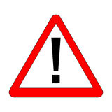 Signe rouge d'exclamation - panneau routier de triangle de danger Photo stock
