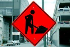 Signe rouge d'ouvriers Photos libres de droits