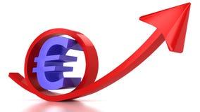 Signe rouge de flèche et d'euro Photos stock