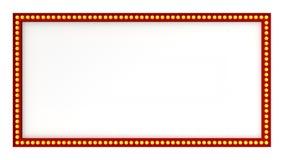 Signe rouge de panneau de lumière de chapiteau rétro sur le fond blanc rendu 3d illustration de vecteur