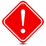 Signe rouge de précaution d'exclamation Images libres de droits
