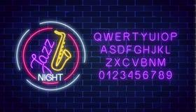 Signe rougeoyant de café au néon de jazz avec le saxophone et l'alphabet Invitation rougeoyante à la nuit de jazz dans la barre d illustration libre de droits