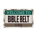 Signe rouillé de plaque des Etats-Unis de ceinture de bible de Web de cru illustration de vecteur
