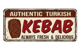 Signe rouillé en métal de vintage de chiche-kebab Photo libre de droits