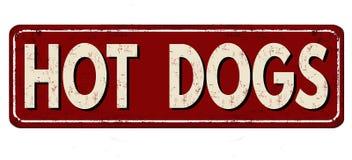 Signe rouillé en métal de vintage de hot-dogs illustration de vecteur