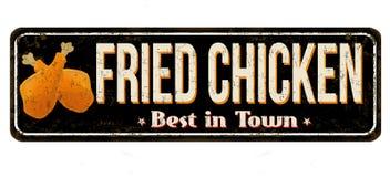 Signe rouillé en métal de vintage de poulet frit illustration stock