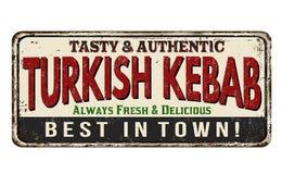 Signe rouillé en métal de vintage turc de chiche-kebab Images stock