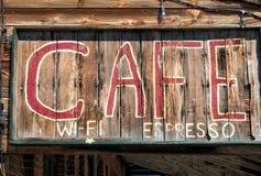 Signe rustique de café photographie stock