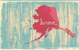 Signe rustique nostalgique de vecteur d'état de vintage de l'Alaska illustration stock