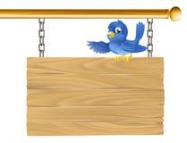 Signe s'arrêtant d'oiseau bleu mignon Images stock