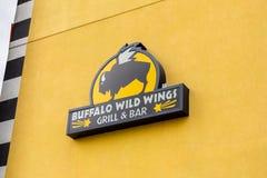 Signe sauvage de restaurant d'aile de Buffalo photos libres de droits