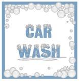 Signe savonneux de lavage de voiture Photographie stock
