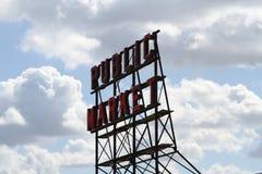Signe Seattle de marché public Images libres de droits