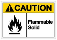 Signe solide inflammable de symbole de précaution, illustration de vecteur, isolat sur le label blanc de fond EPS10 illustration libre de droits