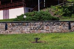 Signe sommeillant de loge de Groundhog Photo stock