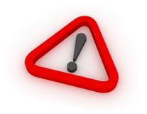 Signe triangulaire rouge d'avertissement 3D Images libres de droits