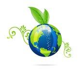 Signe vert d'eco de la terre bleue Photographie stock libre de droits