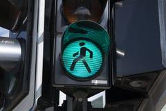 Signe vert de feu de signalisation piétonnière Photos libres de droits