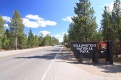 signe yellowstone de stationnement national Photos libres de droits