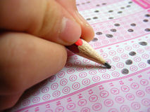 Signed answer sheets for training and exam sites Stock Photo