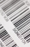 Signed for barcode. Barcode used by post office for tracking items send to be signed for stock images
