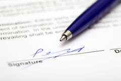 Signed contract Stock Photo