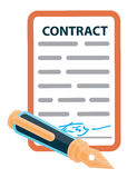 Signed contract with a retro pen. Below Stock Photo