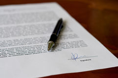 Signed Document Royalty Free Stock Image