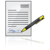 Signed document Stock Photos