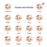Signed feelings and emotions. Girl with different expressions on her face. Set of vector illustrations. Royalty Free Stock Photography