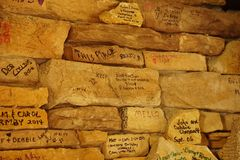 Signed fireplace sandstone Stock Image