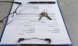 Signed house purchase agreement after the loan approval. Stock Image