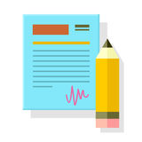 Signed Office Document with Pencil Isolated. Stock Photo